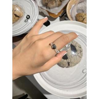 リング 指輪 ビーズ ハート 銀 シルバー 量産型 地雷 病み メンヘラ 韓国