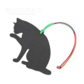Hermes - エルメス プティアッシュ 猫 バッグチャーム レザー ブラック/ブラウン