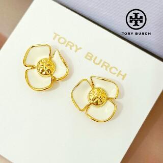 Tory Burch - 【新品☆本物】トリーバーチ フラワーピアス ホワイト