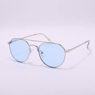 ダブルブリッジサングラス y300053 シルバー/ライトブルー