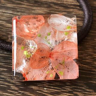 紫陽花のレジン ヘアゴム 3センチ(ヘアアクセサリー)