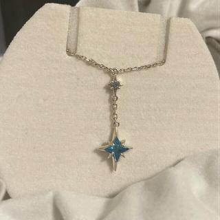 スタージュエリー(STAR JEWELRY)の【新品未使用】star jewelry ネックレス ブルー シルバー  (ネックレス)