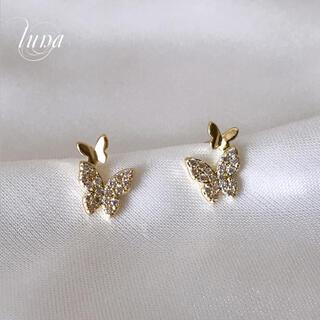 AHKAH - papillon pave pierce☆S925 post GOLD