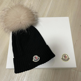MONCLER - 2021AW/新品/最新作 MONCLER  ニット帽 黒 L ファー付き