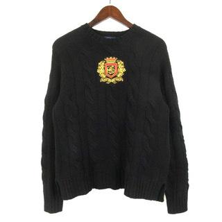 ポロラルフローレン(POLO RALPH LAUREN)のポロ ラルフローレン クレスト ニット セーター 長袖 刺繍 ブラック S(ニット/セーター)