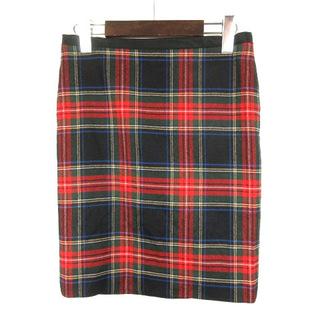 ドゥロワー(Drawer)のドゥロワー Drawer ウール スカート チェック 34 ブラック レッド(ひざ丈スカート)