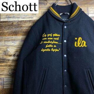 schott - Schottショットショールカラースタジャン黒ブラックメンズ古着m刺繍ワッペン