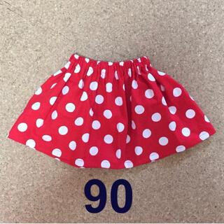 ハンドメイド キッズミニーちゃん風ドットスカート90センチ70〜130オーダー可