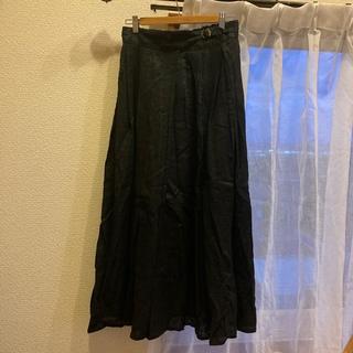 スタディオクリップ(STUDIO CLIP)のリネン100%グルカスカート 黒(ロングスカート)