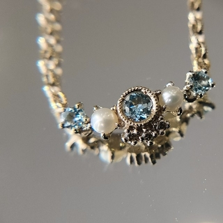 アベリ チェーンリング アクアマリン K18 ダイヤ ダイヤモンド