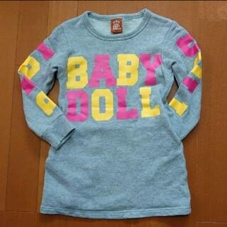 BABYDOLL - BABYDOLL ロゴ トレーナー ワンピ 110 グレー