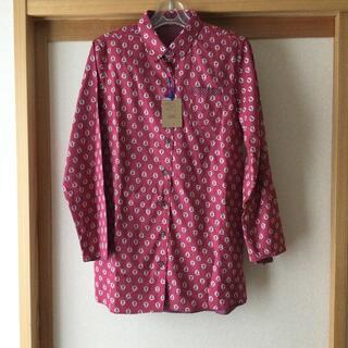 【タグ付き未使用】綿100% リバーシブル 長袖シャツ 赤 レッド