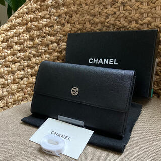 CHANEL - 【本物・極美品】CHANEL シャネル ココボタン 長財布 ブラック 折り財布
