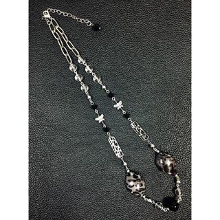 【最終値下げ/美品】STUGAZI風豹柄大粒ブラックパールチェーンネックレス(ネックレス)