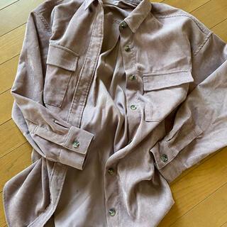 GU - コーデュロイ gu ジーユー シャツ 長袖 オーバーサイズシャツ くすみピンク