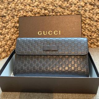 Gucci - 【本物・美品】GUCCI グッチ マイクロ シマレザー ブラック 長財布