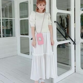 レディー(Rady)のRady フリルマキシスカート ホワイト Mサイズ 新品未使用♪白WHT(ロングスカート)