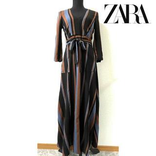 ZARA - ZARA ザラ ロングワンピース ストライプ ブラック 黒 S