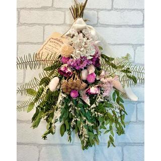 ドライフラワー スワッグ❁97 薔薇ローズ 紫陽花 スターチス 白ピンク 花束