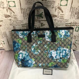 Gucci - GUCCI ブルームス花柄ブルー トートバッグ