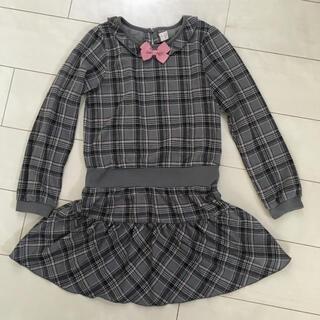 motherways - 140 グレー✖️ピンク チェック柄ワンピース マザウェイズ 女の子 子供服