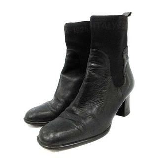 フェンディ(FENDI)のフェンディ ショートブーツ サイドゴアブーツ レザー 36 23cm 黒(ブーツ)