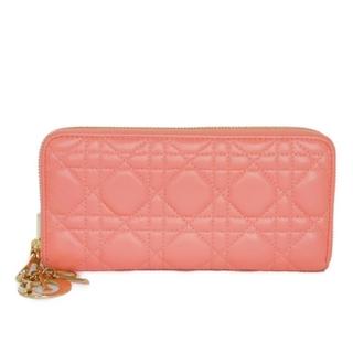 Dior - ディオール レディディオール ラウンドファスナー カナージュ ピンク 長財布