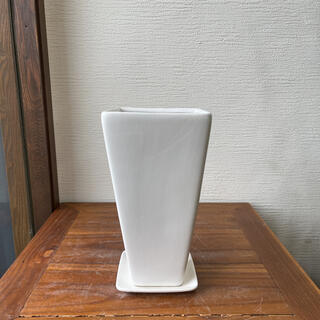 ホワイトスクエアトール植木鉢(プランター)