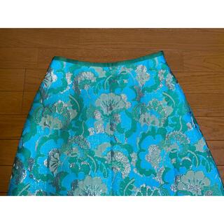 ドゥロワー(Drawer)の●ドゥロワー 刺繍ターコイズ色緑シルバー花柄スカート36(ひざ丈スカート)