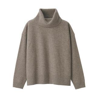 MUJI (無印良品) - 無印良品 キャメル入りウール強縮オフタートルセーター モカブラウン レディース