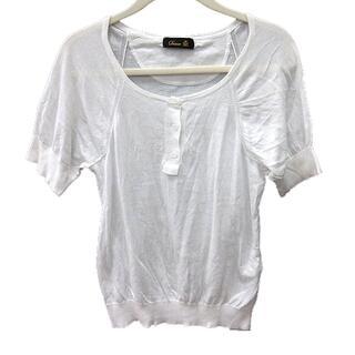 ドゥロワー(Drawer)のドゥロワー Drawer ニット カットソー Uネック 半袖 白 ホワイト /R(ニット/セーター)