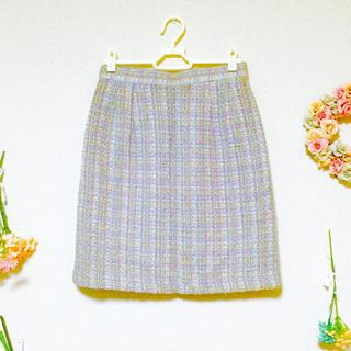 ロキエ(Lochie)のヴィンテージ スカート タイトスカート ツイード チェック 美品 ラベンダー(ひざ丈スカート)