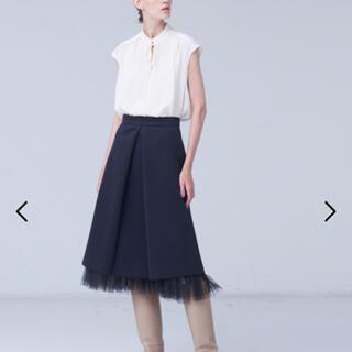 ドゥロワー(Drawer)のデザインワークス フロントタックスカート 36(裾チュールスカート付) 美品(ひざ丈スカート)