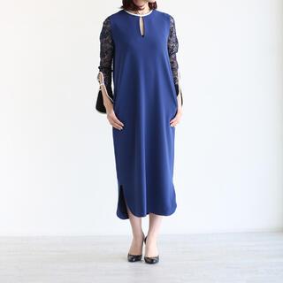 Mame  Embroidered Sleeve I-Line Dress