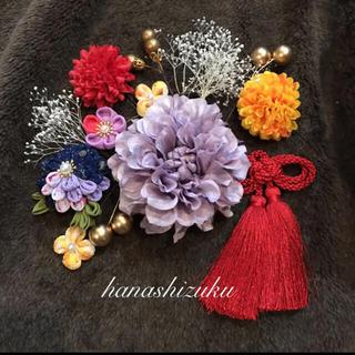 つまみ細工 「幸せの四つ葉」髪飾り 七五三 卒業式 成人式
