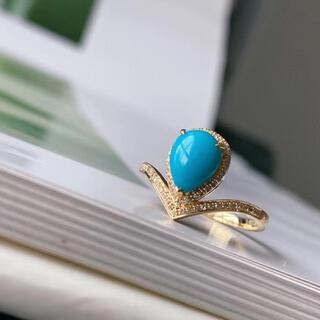 天然無処理 ターコイズ トルコ石  ダイヤモンド リング k18  8.8mm