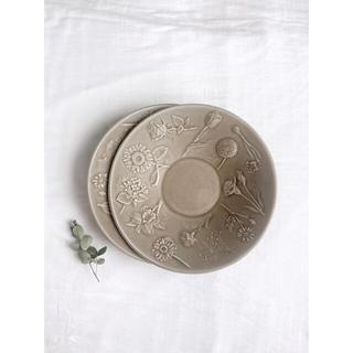 よしざわ窯 *2枚 お花図鑑の深皿 パールストーングレー 新品