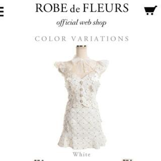 ROBE - 美品 送料込 ローブドフルール ホワイト 花柄 レース