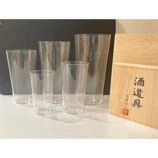 【訳あり】うすはり 酒道具 グラス 5点セット 木箱入