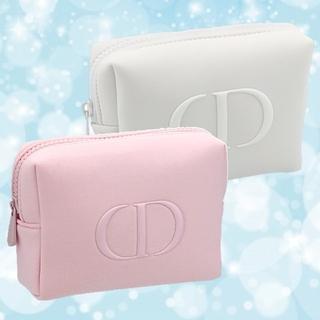 Dior - 【Dior】 ディオール ノベルティ ふかふかポーチ ピンク + ホワイト 2点