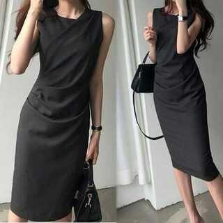 【ブラック/フリーサイズ】 フロントクロス ノースリーブ ワンピース ドレス