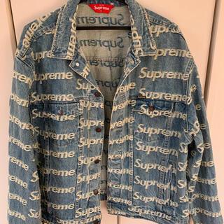 Supreme - suprem frayed logo denim jaket