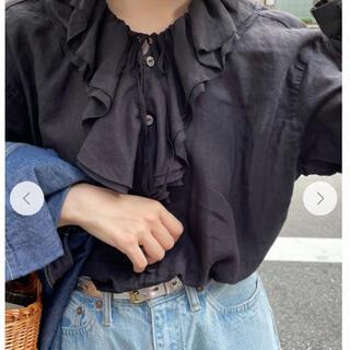 nest Robe - 【美品】nestrobe リネンラッフルカラーブラウス 黒
