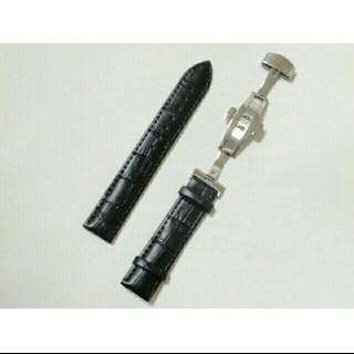 腕時計 交換用ベルトクロコダイル型押し牛本革 黒18,19,20,21,22mm