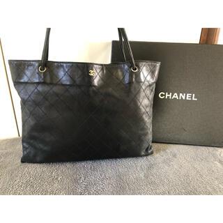 CHANEL - CHANELシャネルラムスキンブラックロゴショルダーバッグ