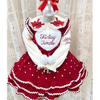 Shirley Temple - シャーリーテンプル  ポンポンリボンジャンパースカート プレゼントカラーブラウス