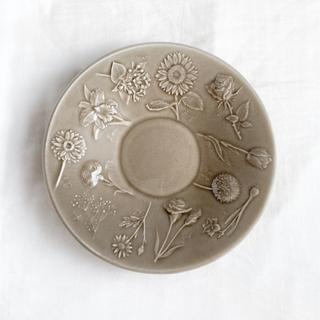 よしざわ窯 *1枚 お花図鑑の深皿 パールストーングレー 新品