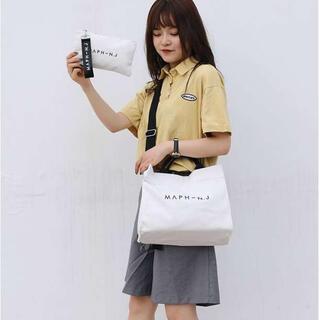 ♡人気♡ トートバッグ ミニポーチ付き キャンバス ショルダーバッグ white