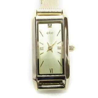 ete - エテ 腕時計 クオーツ ダイヤレクタングル メッシュベルト 2針 ゴールド色