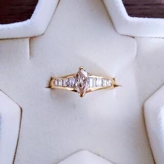 合計0.7ct 大粒 マーキスカット ダイヤ リング 指輪 K18